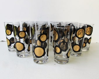 Mid Century Barware - Set of 12 Black and Gold Coin Design Cocktail Glasses -  22k Gold International Gold Coin Pattern - Black and Gold