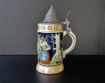 Mid Century Beer Stein - German Ceramic Stein - Wick-Werke - Blue Tankard - 1957 - Pottery Beer Stein - Ceramic Stein - German Stein -