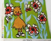 Vintage Needlepoint 1970 39 s Big Bird Duckling- Groovy Floral Needlepoint - Light Blue - Green - Orange - Yellow - Retro Needlepoint