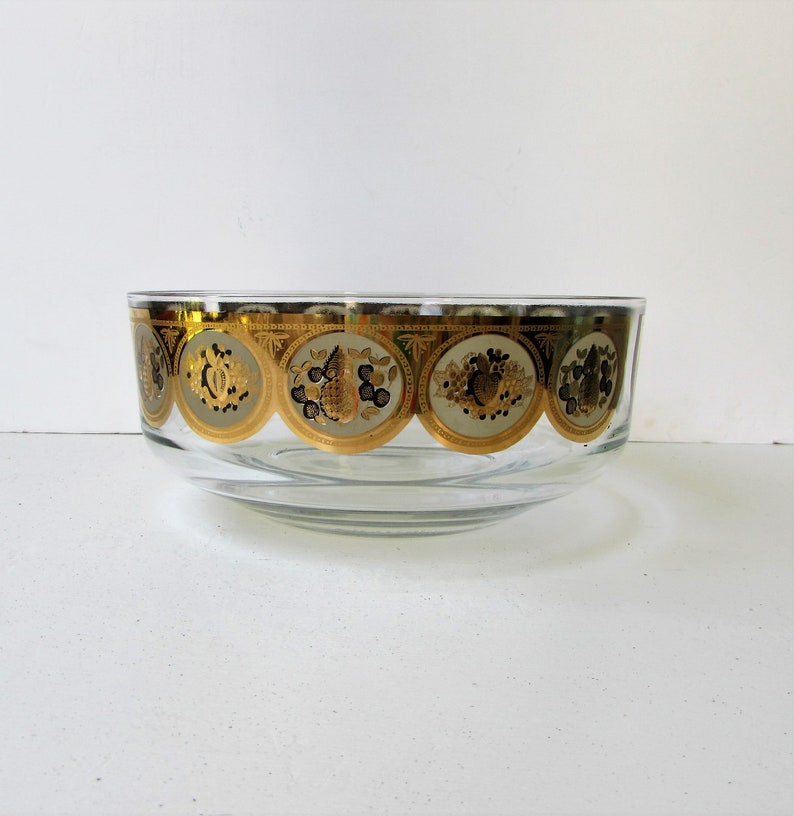 Mid Century Cera Gold and Frosted Fruit Circle Pattern Salad Bowl Frosted Glass and Metallic Gold Fruit Design Hollywood Regency Bowl