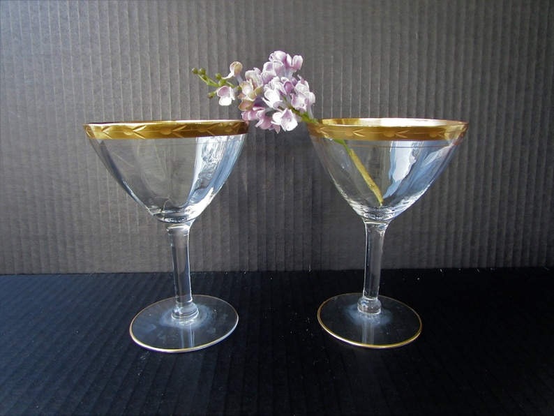 77965e6b7df Gold Encrusted Champagne Glasses Set of 2 Coupe Champagne or