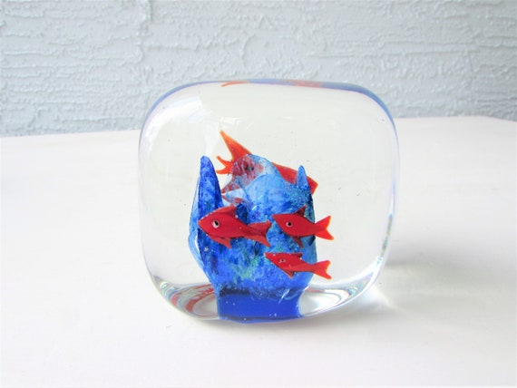 Vintage Blown Glass Paperweight Fish Tank Design Gold Fish Etsy