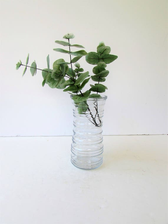 Vintage Clear Glass Vase Tall Round Vase Concentric Etsy