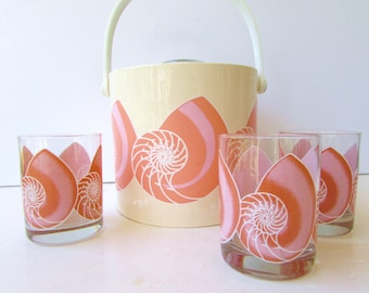 Vintage Barware - Shelton Designs - Peach Shell Ice Bucket and Matching Glasses -