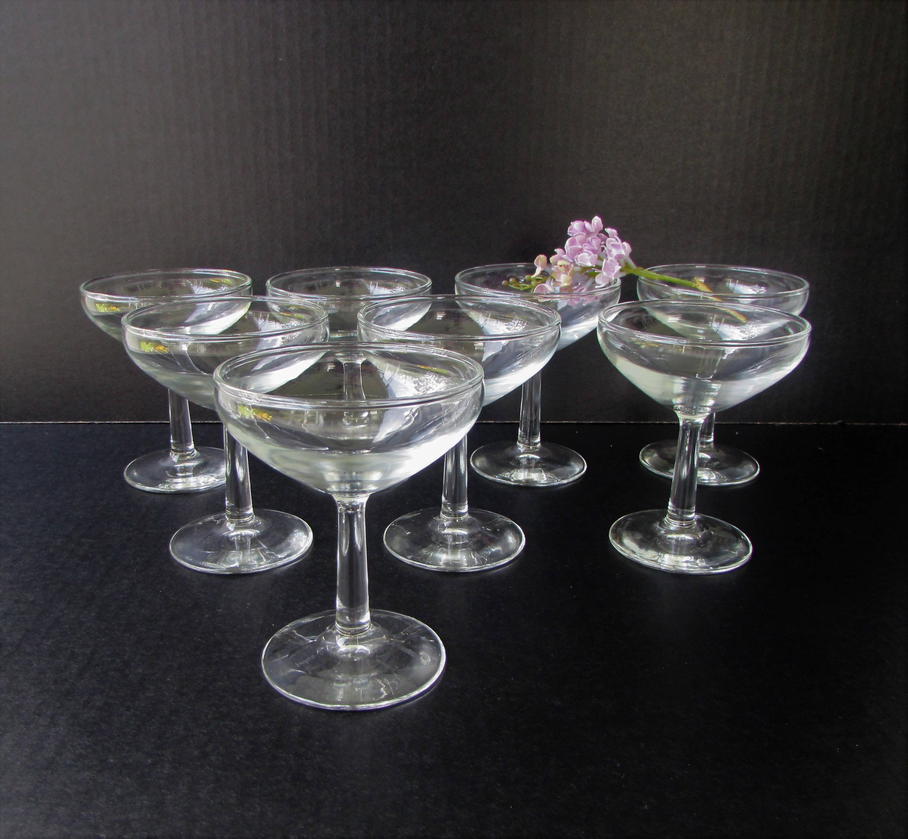 9cc965ef1003 Mid Century Modern Champagne Glasses Set of 8 Clear Glass