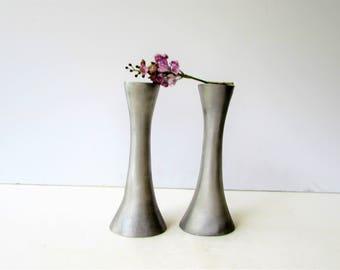 Vintage Brushed Metal Candlesticks - Brushed Silver Metal Candle Holders - Modernist Torch Style - Modern Candlesticks