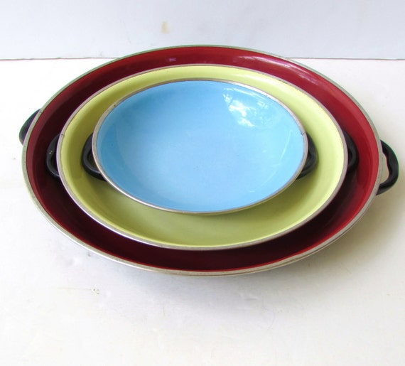 Colorful Kitchen Classic Mid Century Kitchen Mid Century Nesting Enamel Shallow Bowls or Trays Red Blue Unique Serveware Yellow