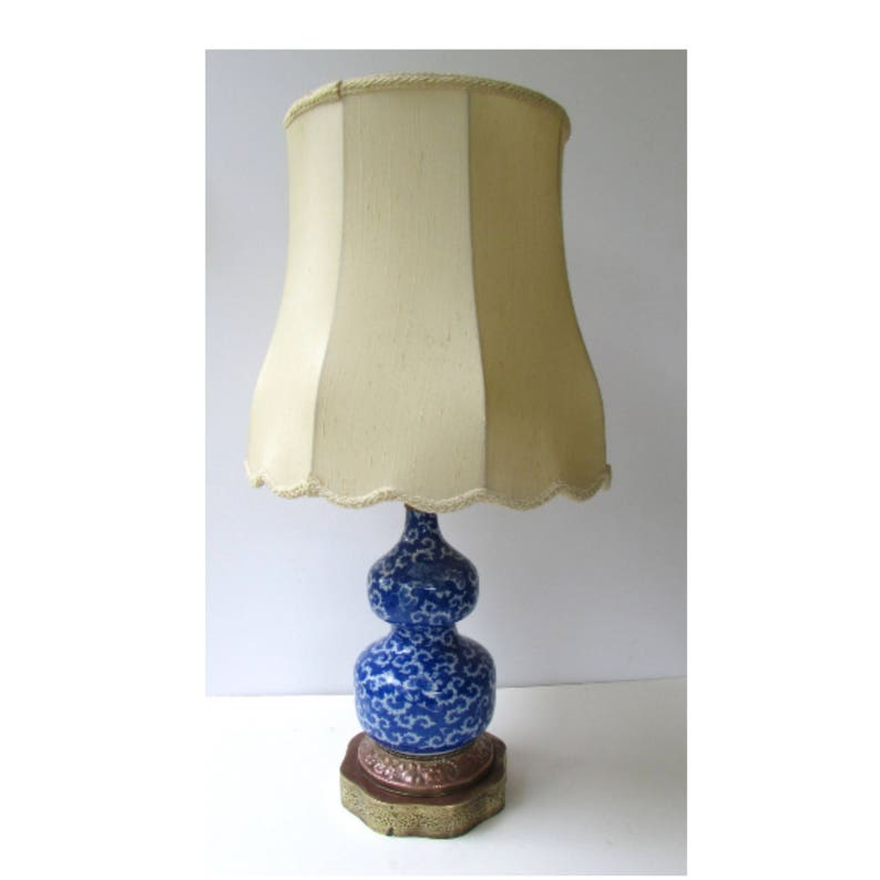 Copper and Brass Base Porcelain Double Gourd Table Lamp Blue and White Vintage Table Lamp Original Shade Asian Blue  Chinoiserie