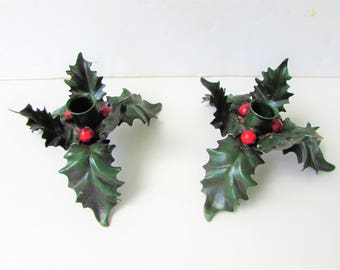 Vintage Italian Tole Candle Holders - A Pair - Christmas Holly - Candlestick Holders - Tole Holley - Painted Metal
