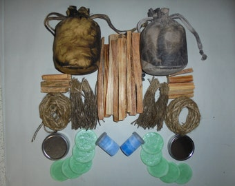 Double fire kit oil skin waxed cotton pouch bag bushcraft survival water resistant
