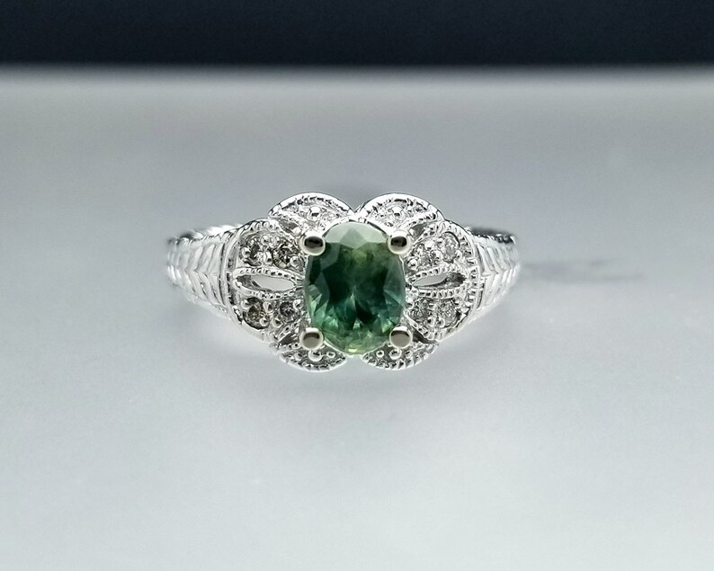 1 ctw Montana Sapphire & Diamond Engagement Ring in 14K White image 0