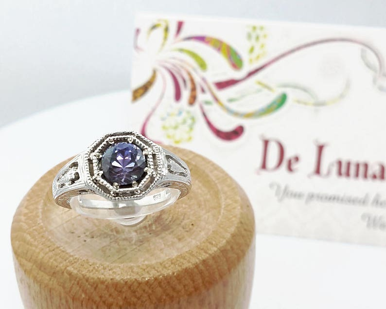 1 ct Tanzanite Ring in Sterling Silver / Natural Blue Gemstone image 0