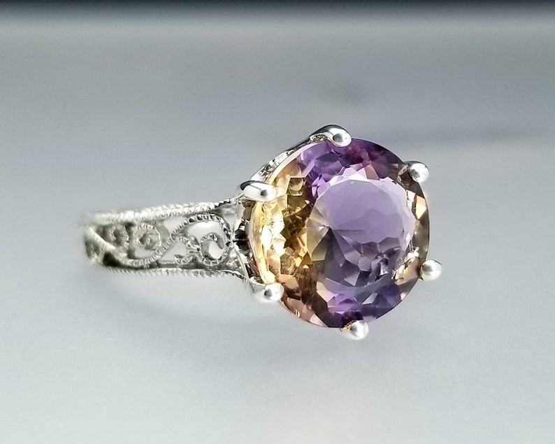 2.7 ct Ametrine Ring in Sterling Silver / Natural Round image 0
