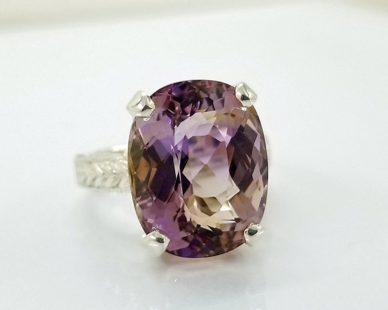 12.8 ct Bolivian Ametrine Ring in Sterling Silver / Natural image 0