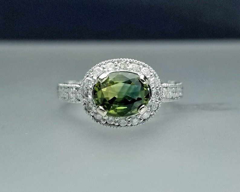 2.21 ctw Blueish Green Sapphire & Diamond Engagement Ring in image 0