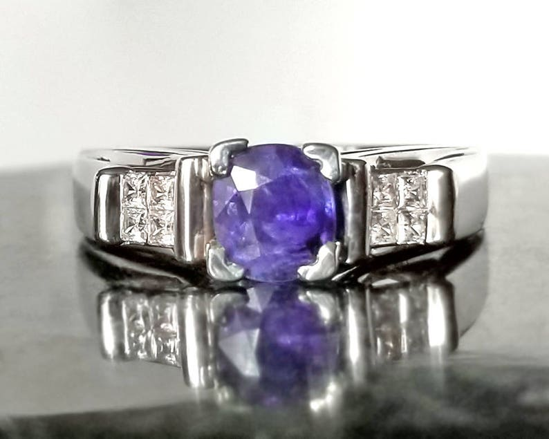 1 ctw Sapphire & Diamond Ring in Sterling Silver / Natural image 0