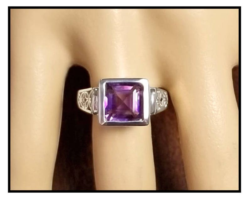 2.33 ct Amethyst Ring in Sterling Silver / Square Octagon image 0