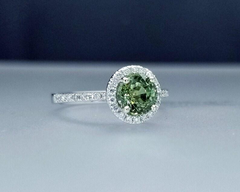 1.64 ctw Montana Sapphire & Diamond Engagement Ring in 14K image 0
