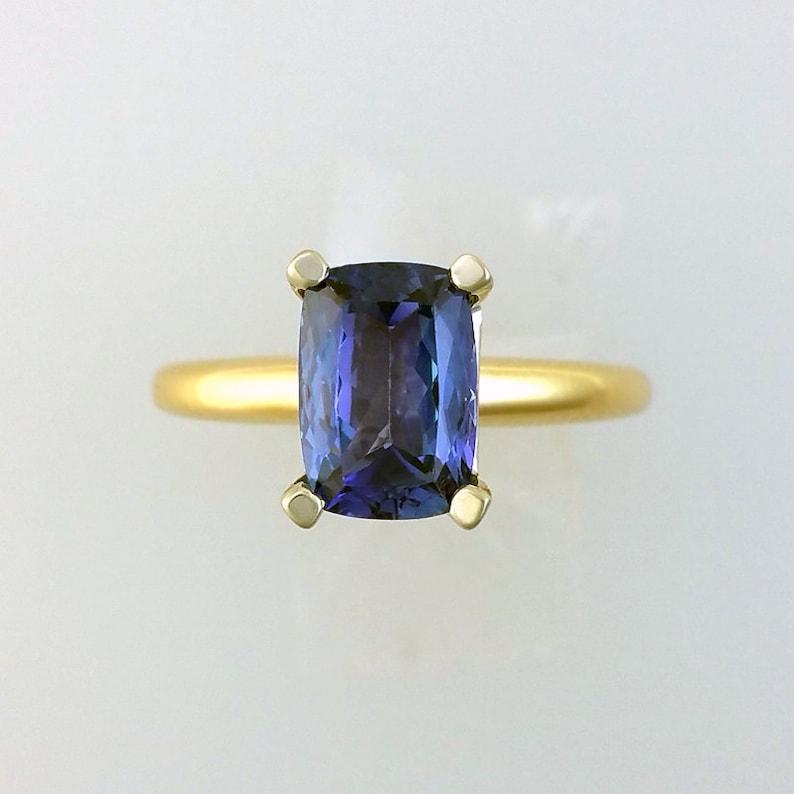 2.18 ct. Tanzanite Engagement Ring in 14K Gold / December image 0