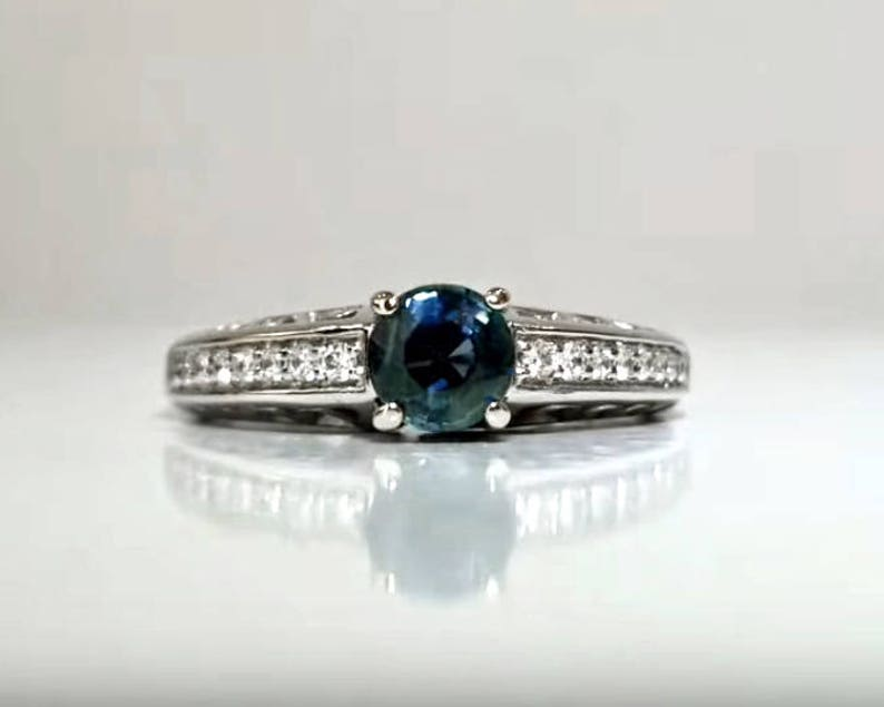 1.14 ctw Sapphire & Diamond Engagement Ring in 14K White Gold image 0