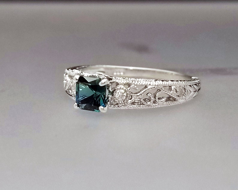 1/2 ct Blue Tourmaline & Diamond Accent Ring in Sterling image 0