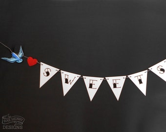Sweets Bunting Candy Buffet Sign Wedding Decoration Tattoo Swallows Rockabilly Party