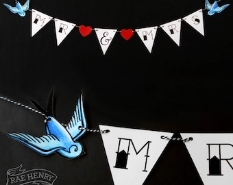 Tattoo Swallows Bunting MR & MRS Wedding Decoration Rockabilly Party Sailor Jerry