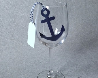 Anchor Place Cards Pack Of 10 Black Wine Glass Decorations Etsy