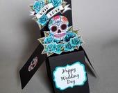 Blue Sugar Skull Wedding Card 3-D Pop Up Rockabilly Tattoo Candy Skull Goth Rock