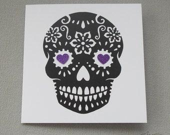 Sugar Skull Card Purple Black Birthday/ Anniversary/ Wedding Tattoo Rockabilly Day of the Dead Dia De Los Muertos