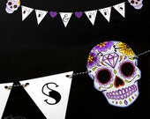 Purple Sugar Skull Bunting Banner Wedding // Mr and Mrs, Mrs and Mrs, Mr and Mr // Decoration Tattoo Rockabilly Day of the dead Halloween