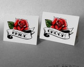 Bride and Groom Rose Place Cards Tattoo Rockabilly Wedding Table Decorations Name Cards Party Place Setting