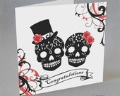 Sugar Skulls Congratulations Card Engagement Wedding Goth Tattoo Rockabilly Mr Mrs Red Black Punk Rock Rose Candy Alternative Goth