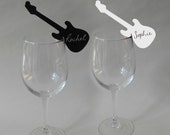 10 Guitar Place Cards Black or White Wine Glass Decoration Music Themed Name Cards Wedding Party Rock n Roll Music Festival Alternative Punk