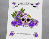 Purple Sugar Skull Wall Art Print Personalised Wedding Gift Anniversary Goth Rockabilly Tattoo Candy Skulls Alternative
