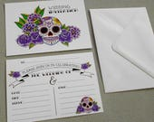 10 Sugar Skull Invitations & Envelopes Postcards Tattoo Rockabilly Wedding Day of the Dead Dia De Los Muertos