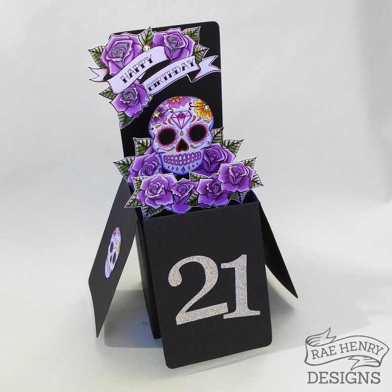 Purple Sugar Skull Birthday Card // Choose Any Age 21st 18th image 0