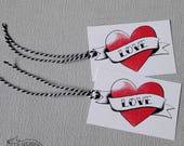Tattoo Heart Thank You Tags Pack of 5 Rockabilly Wedding Favour Party Bag Place Setting Candy Sweet Buffet Bridesmaid Gift Wrap Rock n Roll