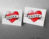 Bride and Groom Heart Place Cards Tattoo Rockabilly Wedding Table Decorations Name Cards Party Place Setting