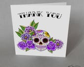 5 Purple Sugar Skull Thank You Card Wedding Party Tattoo Goth Rock n Roll Candy Skull