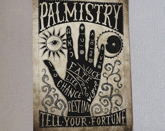 Palmistry Art Print Wall Art Gift Fortune Teller Gothic Home Decor Alternative Occult Witch Mystical Vintage Style Hand Carnival