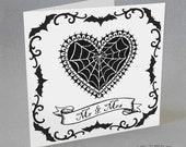 Cobweb Heart Wedding Card Mr & Mrs Gothic Bats Spider Web Tattoo Rockabilly Alternative Spooky Strange Unusual Gothabilly