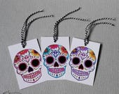 6 Sugar Skull Gift Tags Wedding Party Favour Blue Red Purple Mixed Colours Tattoo Rockabilly Goth Day of the dead Gift Wrap Party Bag Candy