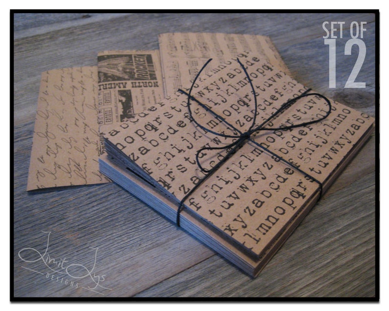 Print Blank Cards and Envelopes Blank, Kraft Note Cards with Envelopes,  Thank You Note Cards Blank Inside, Card Sets Blank, Set of 12