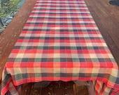 Vtg 60 39 s quot Cannon quot TableCloth Large Warm Color 39 s Orange-Reds-Olive with Gold Thread Squares 80 quot x 104 quot Long