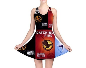 S- 3XL Hunger Games inspired book Skater dress novel- Mockingjay