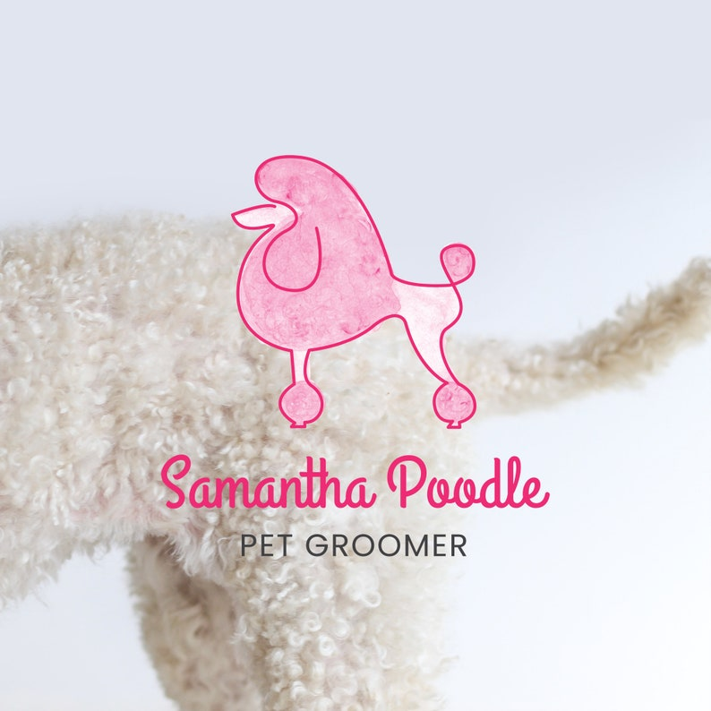 Pretty Pink Poodle Pet Grooming Logo Instant Download DIY Logo Template Logo Design Template