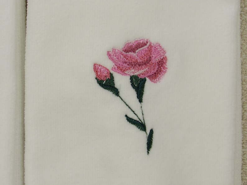 Embroidered Tip Towels PINK ROSES Bathroom Home and Living Spring flowers Velour Tip Towels. Bathroom Vanity