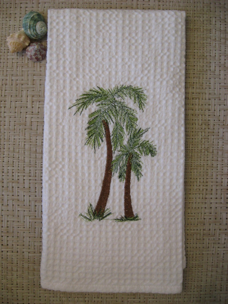 Kitchen Towel..PALM TREE Towel. Embroidered Towel. Tropical Palm Trees.Tea  Towel.Kitchen Towel.