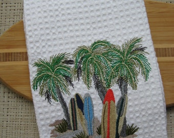 Surfboard Towel. Handmade.  Embroidered Towel. Palm Trees.Kitchen Towel. Surfing Dish Towel.Tropical Tea Towel.Palm Tree Towel.